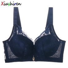 XIUSHIREN Women's Girl Bra Lace 3/4 cup Thin soutien gorge Big Size Large Breast Cover Sexy Big Size Blue sutia 36-44 C D DE0016(China)