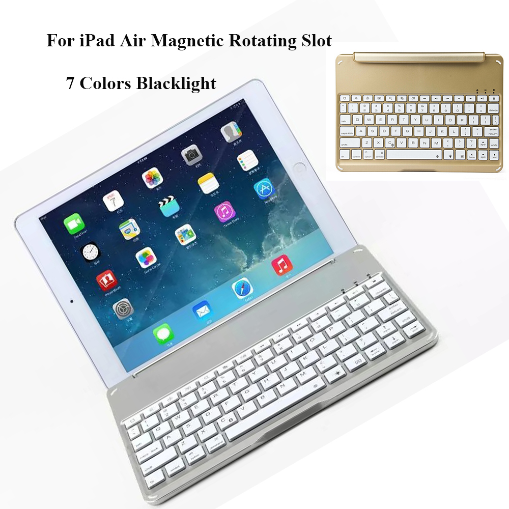 Ultrathin Wireless Keyboard for iPad Air Bluetooth Keyboard with 7 Colors Backlight Backlit Magnetic Rotating Slot Smart Cover<br><br>Aliexpress