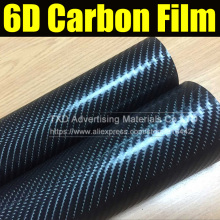 30X152CM/Lot glossy black big texture carbon fiber film 6D carbon vinyl sticker for wrap with air free bubbles by free shipping