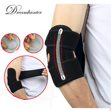 1 PC Adjustable Elbow Brace Wrap Strap With Spring Badminton Cycling Basketball Elbow Pads Arm Protectors Tennis Accessories(China)