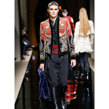 Runway 2017 Paris Fashion Baroque Designer Jacket Men's Stunning Embroidery Color Block Jacket