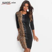 Kaige.Nina New Women's Fashion Casual style Patchwork Full Sleeve Knee-Length O-neck Autumn Leopard Sheath Dress 18025(China)