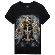 Newest skull tops 3D pattern t shirt men brand clothing black Tops  Large Plus Size Tee Short Sleeve T-shirt  Top Quality