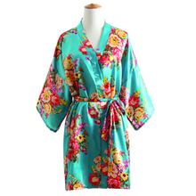 New Blue Women's Kimono Bath Gown Hot Sale Flower Brides Robe Dress Nightgown Casual Short Sleepwear(China)
