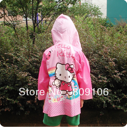 Wholesale/retail,free shipping,Children poncho raincoat cartoon poncho kitty cat child raincoat soft thick bright pink(China (Mainland))