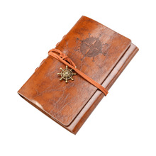 BESTOYARD Retro Vintage Pirate Anchor PU Cover Loose-Leaf String Bound Blank Notebook Notepad Travel Journal Diary Jotter Gift