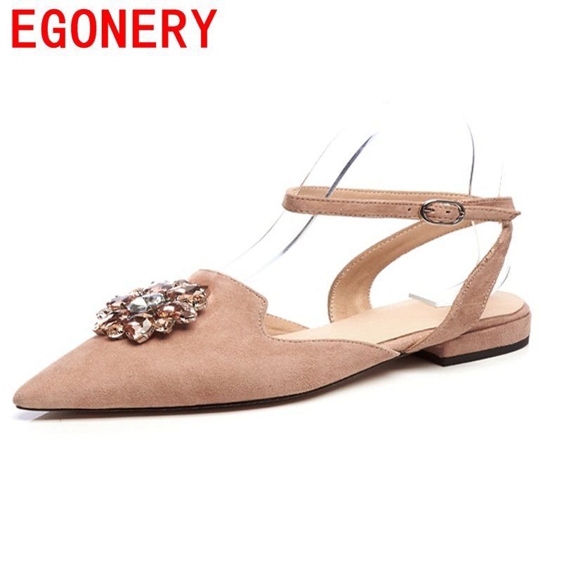 EGONERY chaussures low heels sexy fashion female pointed toe buckle rhinestone decoration concise sweet candy color woman shoes<br>