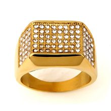 New fashion personality high quality gold color super flash crystal hip hop ring jewelry ring jewelry(China)
