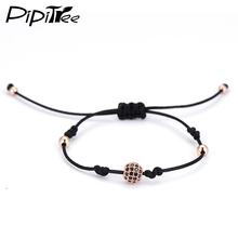 Pipitree Luxury 8mm CZ Ball Rose Gold Color Macrame Charm Bracelets Simple Design 4mm Copper Beads Black Rope Bracelet Unisex