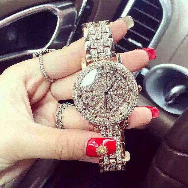 2016 brand Women Rhinestone Watches Rotation Women Watches High Quality Austrian Diamond Rose Gold Woman Lady Dress Watch Clocks<br>