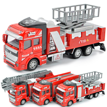 Classic toy Pull Back Fire truck Car model vehicles toys Alloy Diecast fire fighting truck Fire engine toys kids Boy toys(China)