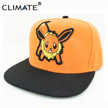 CLIMATE 2017 Pocket Monster GO Game Pikachu Flat Snapback Caps Adult Men Women Animation Cartoon Cute Comic Orange EEVEE Hat Cap(China)