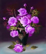 Rhinestone painting crystal Home Decor DIY Diamond painting Purple Roses in the Vase 5D cross stitch pattern diamond embroidery