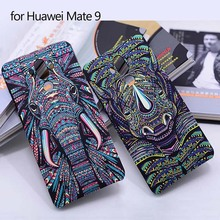 VIEME Fashion 3D animal case for Huawei Mate 9 cat Tiger Elephant wolf Hard PC Couqe Mate 9 Cute Cartoon Shell for Huawei Mate 9