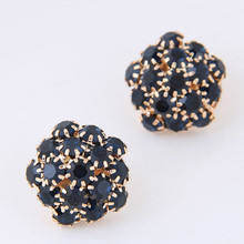 Buy Fashion Statement Rhinestone Snlwflower Ball Stud Earrings Women Female Boucle D'oreille Earring Bijoux Jewelry Brinco Mujer for $3.25 in AliExpress store