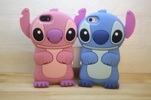 Cute Cartoon 3D Silicone Stitch cover Cases For Capinha iPhone 4 4s se 5 5s 6 6s 6plus 6s Plus 7 7plus Case Coque Soft Funda(China)