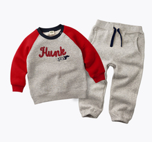 2017 Winter spring Kids Thicken clothing suit Baby Boys Girls Plus Velvet Hoddies t shirt +Pants Cotton Children's Clothes set