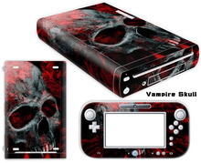 Red Skull Style Vinyl Cover Decal For Wii U Skin Sticker for Nintendo WiiU Console & Controller Skins For Nintendo Accessories(China)