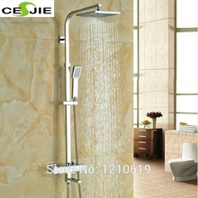 Newly 8 Inch Thermostatic Shower Set Faucet w/ Hand Sprayer Chrome Plate Rainfall Shower Tub Mixer Faucet