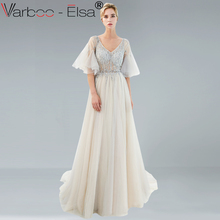 VARBOO ELSA gray Illusion Luxury sexy Evening Dresses Long 2018 New Heavy  Crystals Beaded Arabic Elegant Woman 335af10098b0