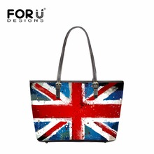 FORUDESIGNS UK US Flags Design Handbags Women Striped Prints PU Leather Messenger Bags for Ladies Casual Beach Tote Bags Mujer