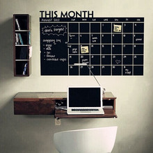 DIY Month Plan Calendar Chalkboard Removable Wall Stickers Drawing Black Board Creative Parede For Offices Learning Wall Sticker