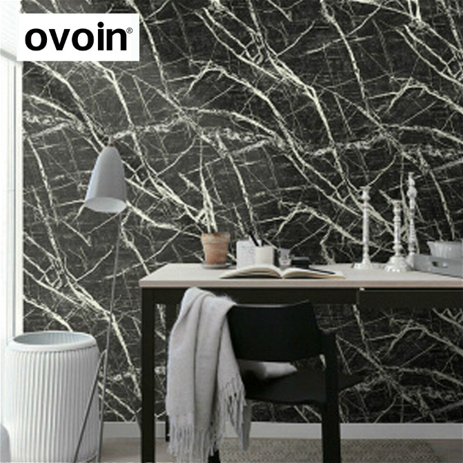 Modern Marble Stone Look Black and White Wallpaper Industrial Shop Background Wall Paper Roll 10M Sand Yellow/Slate Grey<br>