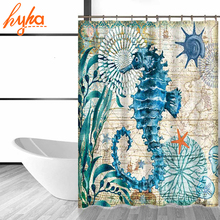 Hyha Marine Polyester Waterproof Shower Curtain Seahorse Turtle 12pc Hooks Mildew Resistant Bath Curtain Home Bathroom Decor(China)