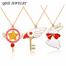 Buy QIHE JEWELRY Rabbit & Sakura Card Captor Necklace Wand key Pendant Japanese Anime Jewelry Accessories Girl Gift for $1.29 in AliExpress store