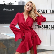 Simplee Elegant sashes v neck satin dress robe femme Irregularity ruffle sleeve autumn dress party Vintage winter dress 2017(China)