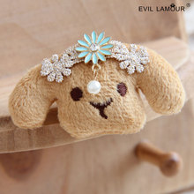 Fashion Vintage Lace Flower Decoration Cutie Puffy Dog Brooch Pins for Baby Girl Party Dresses Cartoon Brooches 2015 Brand BR-89(China)