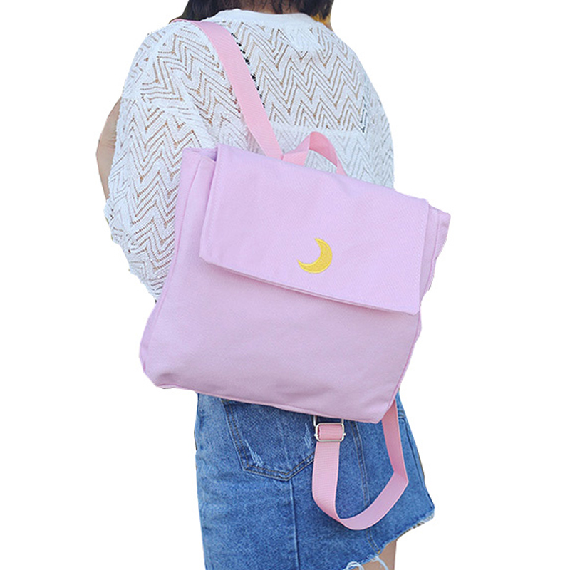 New Fresh Style Women Canvas Backpack Harajuku Heart/Moon Backpacks for Teenage Girls Black Pink Travel Bag Pack Rucksack JXY708<br><br>Aliexpress