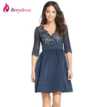 Berydress Elegant Women Deep V-neck 3/4 Sleeves A-line Vintage Retro Dress Short Vestido Knee-length Dresses with Pockets(China)