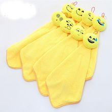 1 pc Lovely Emoji Pattern Super Absorbent Coral Velvet Household Hand Towel Bathroom Kitchen Cleaning Towel High Quality