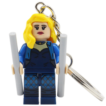 POGO Black Canary DC Super Heroes Keychain Single Sale Captain American Building Block Set Key Chain Bricks Toys Gifts(China)