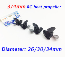 Free Shipping 10PCS 3/4mm RC Boat Propeller Left/Right Drive Shaft Screw Spare Parts For RC Yacht 26/30/34mm(China)