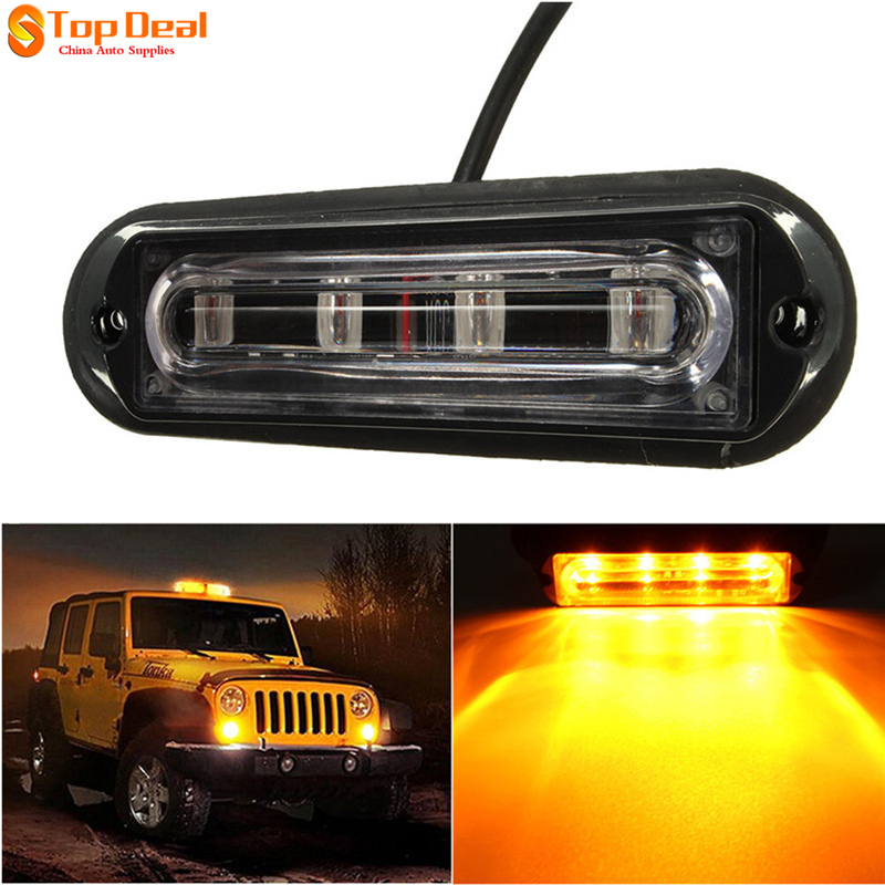 New DC 12-24V 4 LED Waterproof Car Truck Strobe Flash Warning Light Side Maker Light<br><br>Aliexpress