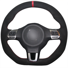 XuJi Black Suede Red Marker Car Steering Wheel Cover for Volkswagen Golf 6 GTI MK6 VW Polo GTI Scirocco R Passat CC R-Line 2010