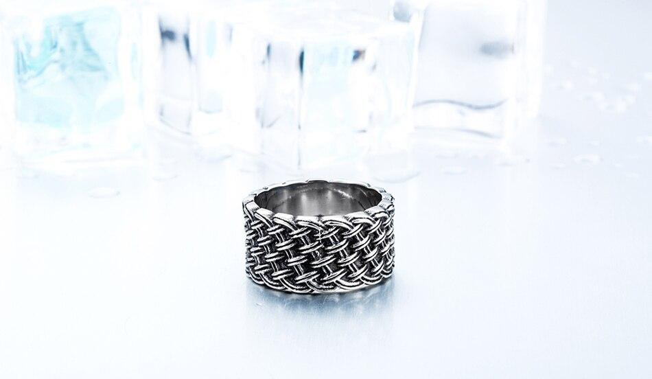 แหวนโคตรเท่ห์ Code 037 แหวนแนวโกธิคลายถักไวกิ้ง เท่ห์ดุแบบเรียบๆ สแตนเลส14