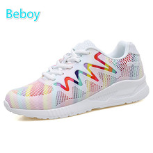 Beboy Breathable Mesh Running Shoes Women Outdoor Resistant Walking Jogging Sneakers Anti-skid Lace Up Athletic Sport Shoes