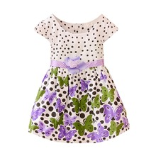 Hot Summer Kid Baby Girls Dress Cute Polk Dots Butterfly Dresses Toddler Clothes