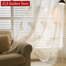 Janpese Style Embroidered Tulle Curtains For Living Room Modern White Sheer Curtains For Bedroom Linen Window Curtains Fabric(China)