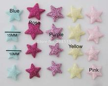 PA0071 Glitter felt appliques 100pcs 10MM/15MM Star shape decorative accessories scrapbooking