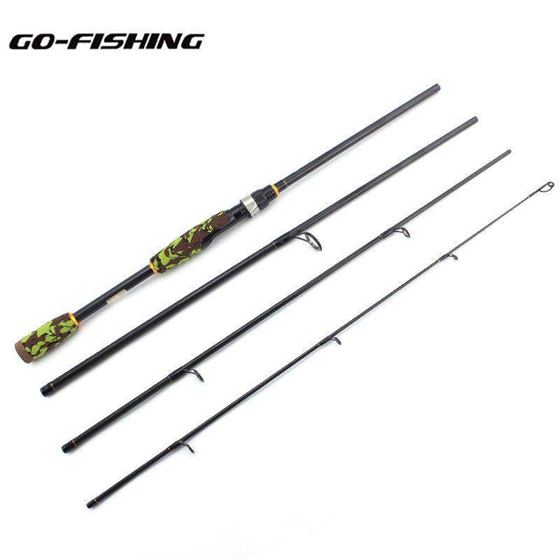 4 Sections Carbon Spinning Rod  2.1M 2.4M Fishing Rod Spinning Lure Rod WT.4-28g M Power Lure Rod<br>