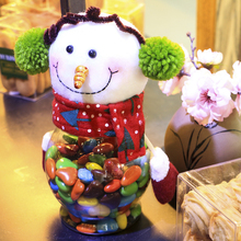Christmas Candy Jar Plastic Candy Container Santa Claus Snowman Elk Gift Sugar Bowl Christmas Decoration Festival Supplies CKG01