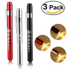 3pcs Reusable LED Penlight with Warm White Light / Pupil Gauge (Random Color)