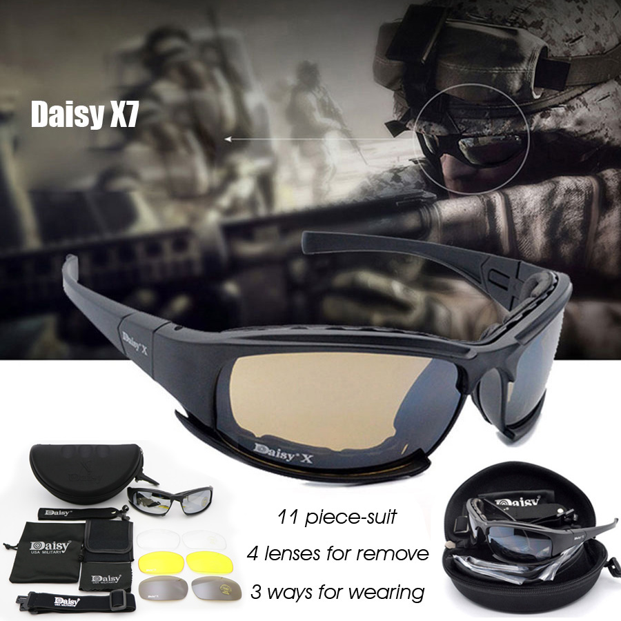 Daisy X7 Military Goggles Bullet-proof Army Sunglasses 4 Lens Men Hunting Shooting Airsoft Tactical Eyewear<br><br>Aliexpress