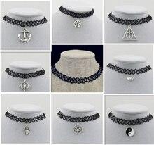 Лески weave татуировки колье ожерелье подарок для женщин влюбленных черный колье ожерелье винтаж Смола Серебро золото Цвет Кулон