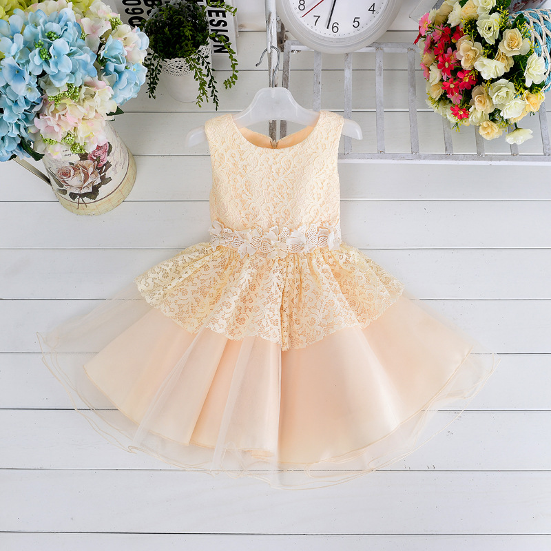 New girl flower Bow dress lace stitching princess sleeveless cute party dress wedding dress 3-8Y YXX<br>