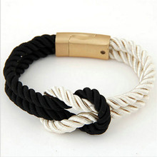 Buy 2017 Hot Trendy Fashion Braided Rope Chain Magnetic Clasp Bow Charm Leather Bracelets & Bangles Women Men Jewelry for $1.20 in AliExpress store